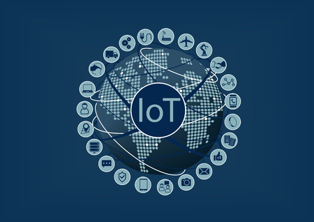 Internet of Things IoT word and icons with globe and world map