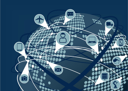 Un réseau mondial de l'Internet des objets IdO comme illustration vectorielle. Terre avec connexions globe et carte pointillée et la ligne entre les appareils. Illustration