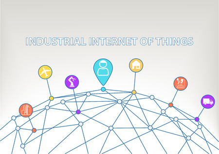 business connection: Industrial Internet of Things background with colorful icons symbols of smart home Connected Consumer Connected plants sensor trucks robots.