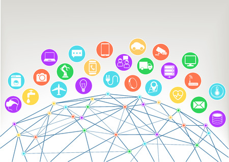 Internet of Things Iot vector illustration background.Icons symbols for various connected devices with wireframe of world and colorful intersections within the network.