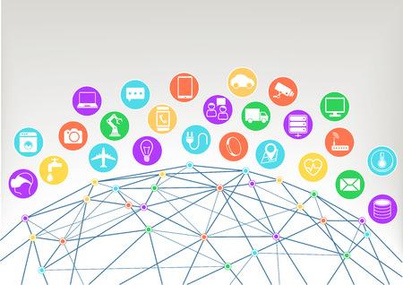 poligonos: Internet de las Cosas IOT ilustración vectorial background.Icons símbolos para varios dispositivos conectados con alambre del mundo y las intersecciones de colores dentro de la red.