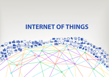 Internet of Things IOT global vector background. Connected devices floating through the air above a wireframe grid model of the Earth. Icons and symbols of smart phones sensor objects.