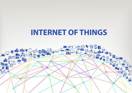 Internet of Things IOT mondiale vector achtergrond. Aangesloten apparaten zwevend door de lucht boven een rooster wireframe model van de aarde. Pictogrammen en symbolen van smartphones sensor objecten.