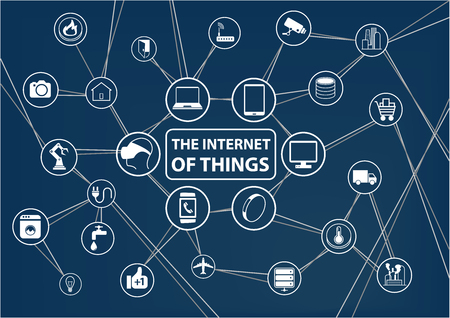sensors: Internet of Things IoT technology background. Connected devices like smart phone SmartWatch sensor. Network of devices with line and intersections.