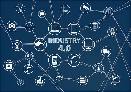 connecting: Industry 4.0 Industrial Internet of Things IIOT background. Vector illustration of industrial connected devices like mobile phone robots sensor objects. Dark blue color scheme.