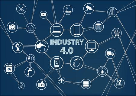 Sfondo dell'Industria Internet delle Cose dell'Industria 4.0. L'illustrazione di vettore dei dispositivi collegati industriali gradisce gli oggetti del sensore dei robot del telefono cellulare. Combinazione di colori blu scuro. Vettoriali