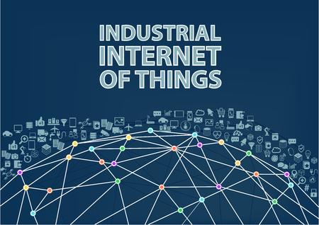 wereldbol: Industriële Internet of Things vector illustratie achtergrond. Internet of Things begrip gevisualiseerd door Globe wireframe en de verbindingen tussen de verschillende aangesloten apparaten Stock Illustratie
