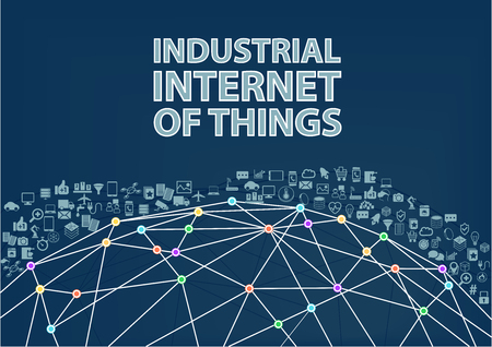 Industrial Internet of Things vector illustration background. Internet of Things concept Visualized by Globe wireframe and connections between different connected devices Çizim