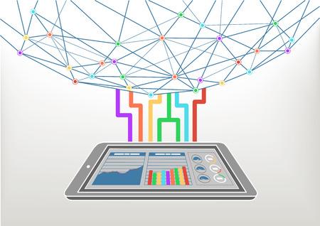 Cloud computing connecté à l'Internet World Wide Web. Vector illustration de fond pour les technologies de l'information avec un téléphone intelligent et informations tableau de bord.