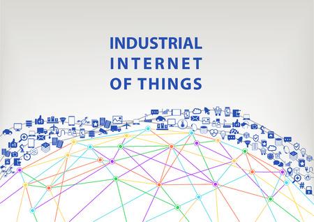 Internet des objets industriels illustration vectorielle arrière-plan. World Wide concept de Web visualisées par Globe filaire et les connexions entre les différents appareils connectés