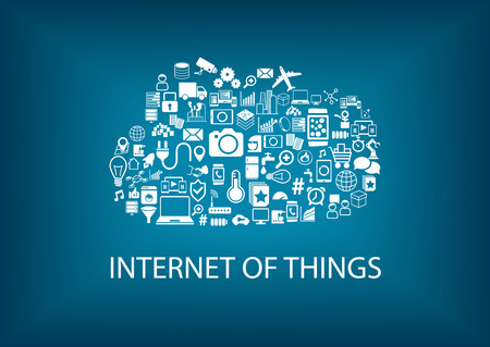 objects: Internet of Things IoT concept with cloud computing. Concept of smart machines always connected via the Internet.