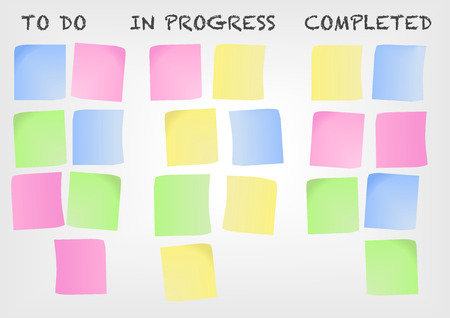 completed: Kanban board as An example for a modern project management methodology. Vector illustration with postit notes.