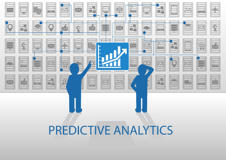 the reporting: Predictive analytics vector illustration. Two analysts analyzing reporting dashboard with positive chart. Flat design with blue and gray color scheme. Illustration