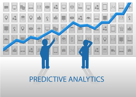analyzing: Predictive analytics vector illustration. Business people analyzing positive chart with various devices and dataItems in the background. Flat design with blue and gray color scheme.