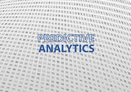 predictive: Analisi predittiva tecnologia dell'informazione sfondo. Illustrazione vettoriale con icone del design piatte simboli di dispositivi e informazioni collegati.