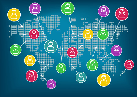 eachother: Concept of social network. Global communication and collaboration around the world. Vector background. Icons of various people connected with eachother. Illustration
