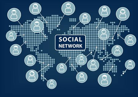 Social network text with world map and vector icons of people. Concept of social networking across the world. Vector