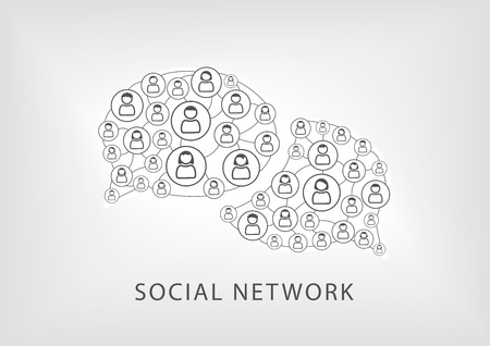 Social network icons symbols as vector illustration. Speech bubbles representing communication and collaboration of workforce and people. White and gray background.