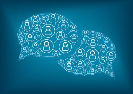 Sociaal netwerk vector achtergrond. Vrienden Familie en collega's communiceren via sociale netwerken. Blauw tekstballonnen vertegenwoordigen communicatie en samenwerking op het internet. Stock Illustratie