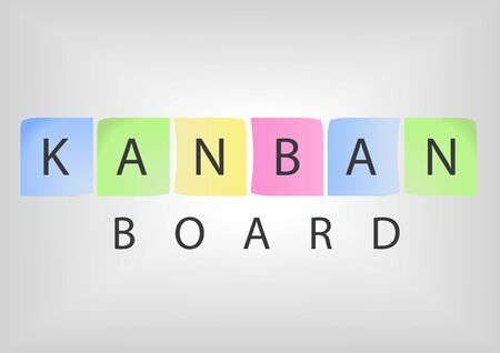 methodology: Kanban board title with colorful postit notes as concept of a modern project management methodology