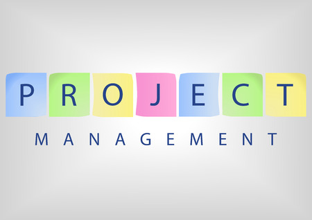 estimation: Project management title with colorful notes on whiteboard