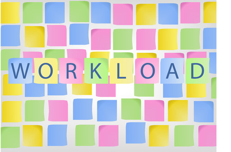 symbolized: Concept of high workload and stress in business life symbolized by colorful notes representing tasks Illustration