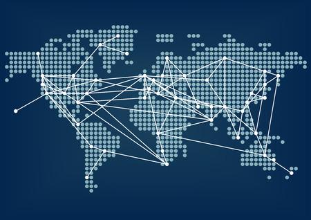 글로벌 네트워크 연결 도시 사이의 연결 라인 어두운 파란색 세계지도로 표현 일러스트