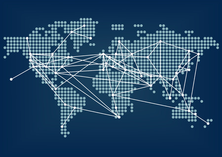 world connectivity: Global Network Connectivity Represented by dark blue world map with connected lines between cities