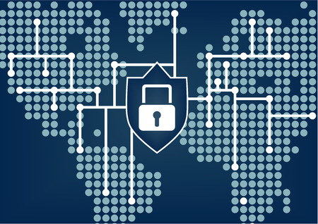 IT security for global organization to prevent data breaches and network with dark blue blurred background