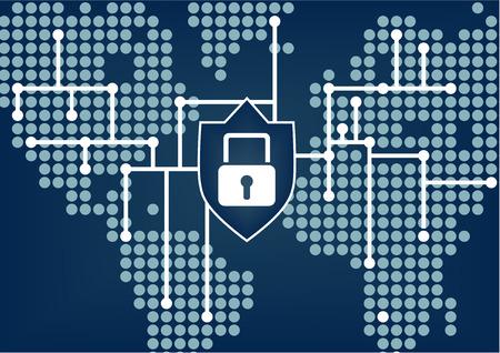 Seguridad de TI de la organización mundial para prevenir las violaciones de datos y de la red con el fondo borroso azul oscuro