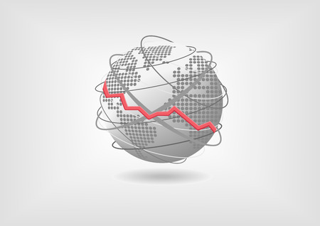 economia: Concepto de recesión económica mundial como ilustración vectorial. La disminución de la Economía Mundial Representado por Globo y el mapa del mundo con diseño plano.