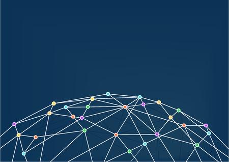 globo terraqueo: World Wide Web con conexiones de la línea entre las intersecciones de colores. Cierre de WorldGrid con conexiones de la línea poligonal y diseño plano. Vectores