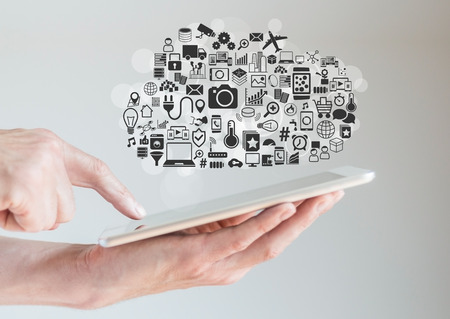 mobility: Hands holding tablet with cloud computing and mobility concept
