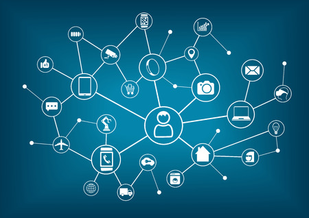 Internet de las cosas la IO y la creación de redes concepto para los dispositivos conectados. Tela de araña de las conexiones de red con el fondo azul borrosa
