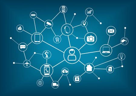 Internet der Dinge und das Internet der Dinge Vernetzungskonzept für angeschlossene Geräte. Spinnennetz von Netzwerkverbindungen mit unscharfen blauen Hintergrund Illustration