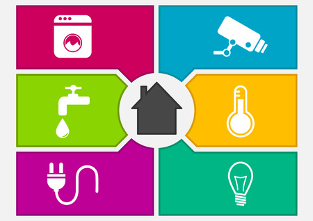 frameworks: Vector illustration of colorful smart home automation screen. Buttons to control appliances, surveillance cameras, water system, thermostat, power and energy and lighting.