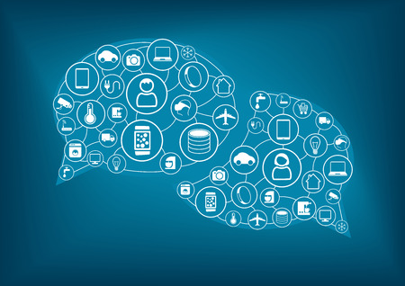talc: Internet of Things IOT concept. Illustration with various icons of devices Illustration