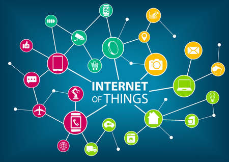 Vector illustration of internet of everything IOT concept. Various colorful icons of devices: such as sensors and mobile devices connected within a wireless network. Dark blue background. Illustration
