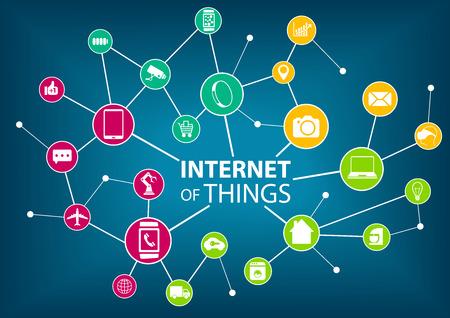Vektor-Illustration von Internet alles IOT Konzept. Verschiedene bunte Icons der Geräte: wie Sensoren und mobilen Geräten in einem drahtlosen Netzwerk verbunden ist. Dunkelblauen Hintergrund.