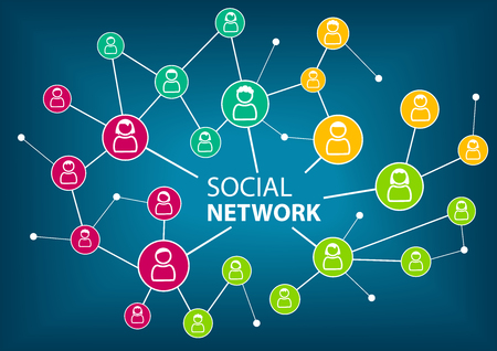 connect people: Concept of social network to connect friends, families and global workforce. Colorful icons of people as vector illustration. Illustration