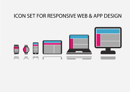 Vector icon set for Responsive app development and web development on mobile devices: such as smart phone, SmartWatch, wearables, tablets, notebooks and computers. Stock Illustratie