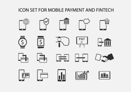 payment: Simple vector icon set for mobile payment and electronic payment. Flat design icons for various payment processes for smart phones, smart watches and wearables.