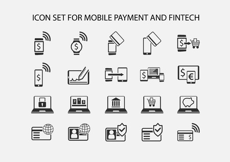 payment icon: Simple vector icon set for mobile payment and electronic payment. Flat design icons for various payment processes for smart phones, smart watches and wearables.