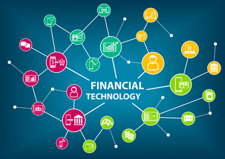 mobilephone: Financial Technology Fin Tech concept vector illustration