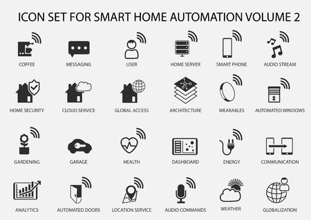 smart home: Smart Home Automation vector icon set in flat design Illustration