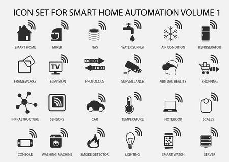 Intelligente icone vettoriali automazione domestica impostato nel design piatto