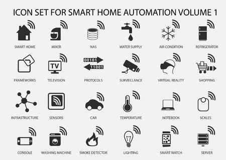 Smart Home Automation vector icon set in flat design Çizim