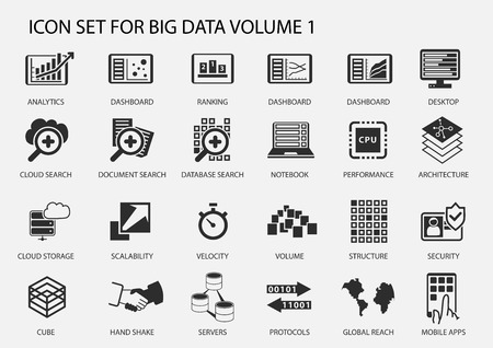 Big data vector icon set in flat design Stock fotó - 44016270
