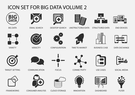 information management: Big data vector icon set in flat design