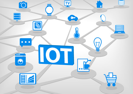 IOT internet of everything vector illustration. 3D connection of various objects and devices. Blue icons on light gray background.